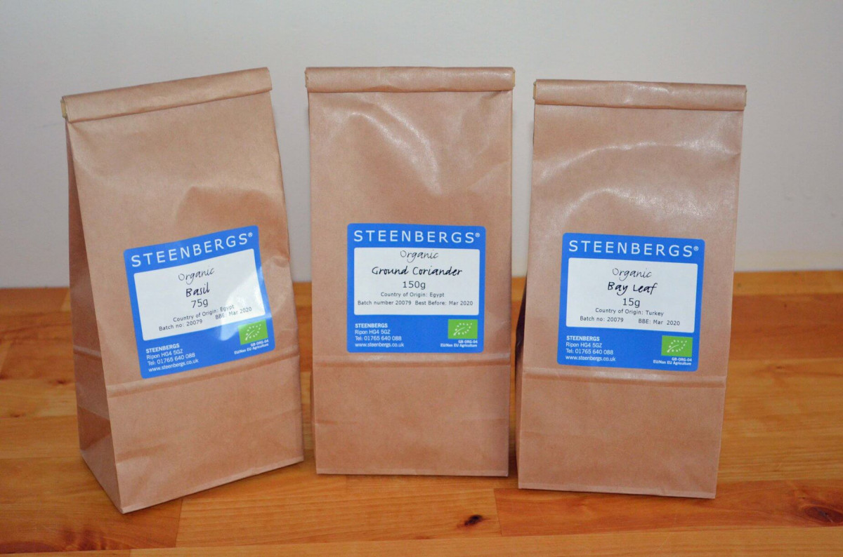 Alternative packaging for bulk spices and teas at Steenbergs