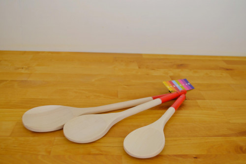 TG Woodware red handled wooden spoons from the Steenbergs UK online shop for baking ingredients and wooden kitchen utensils.