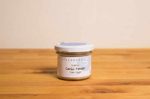 Steenbergs Organic Garlic Powder in Glass Jar available from the Steenbergs UK online shop for herbs and spices.