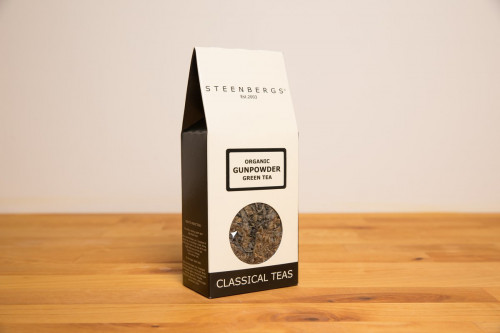 Steenbergs Organic Gunpowder Green Tea, Loose Leaf, 80g, from the Steenbergs UK online shop for organic loose leaf tea.