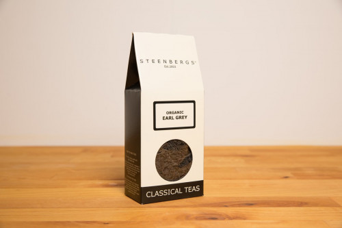 Steenbergs Organic Earl Grey Tea Loose Leaf, part of the UK Steenbergs range of loose leaf teas and herbal infusions. Blended and created in North Yorkshire