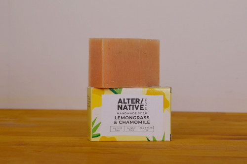 Suma Alternative Handmade soap lemongrass and chamomile, palm oil free, paraben free and SLS and SLES free