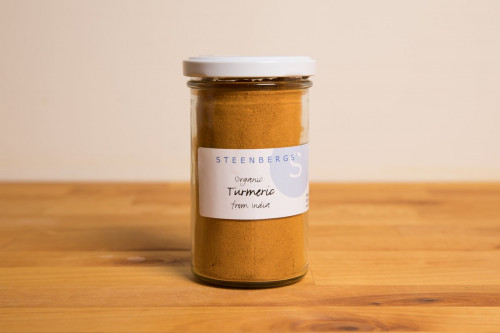 Steenbergs Organic Ground Turmeric Large Glass Jar from the Steenbergs UK online shop for organic herbs and spices.