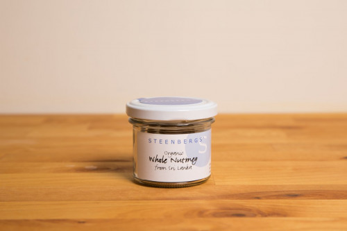 Steenbergs Organic Nutmegs Whole in Glass Jar from the Steenbergs UK online shop for organic spices and herbs.