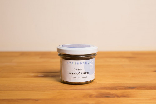 Steenbergs Organic Ground Cloves in a Glass Jar part of the UK range of Steenbergs organic herbs and spices.