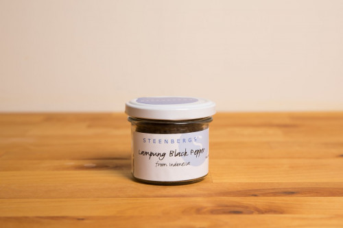 Steenbergs Lampung Black Pepper, Whole, in Glass Jar, from the Steenbergs UK online spice shop.