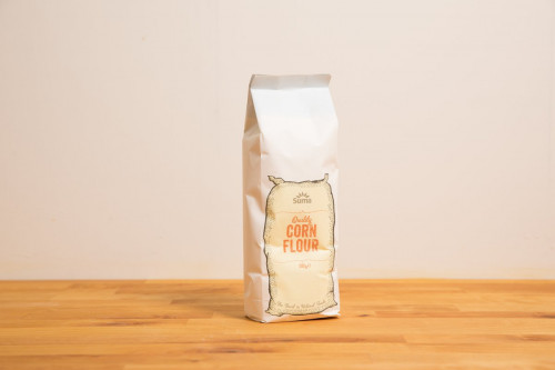 Old style packaging of Suma Cornflour from the Steenbergs UK online shop for baking ingredients.