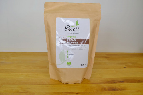 Swell Organic Raw Cacao Powder 250g available at Steenbergs UK online shop for organic and vegan ingredients.