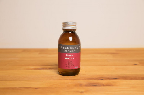 Steenbergs Organic Rose Water in Glass Jar, no added sugar or preservatives, from the Steenbergs UK online shop for baking extracts and arabic ingredients.