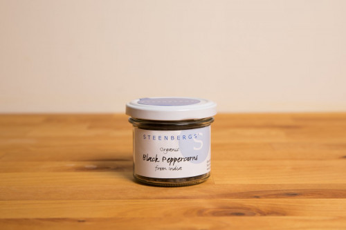 Steenbergs Organic Black Peppercorns in glass jar from the UK Steenbergs online shop for organic salt and pepper.