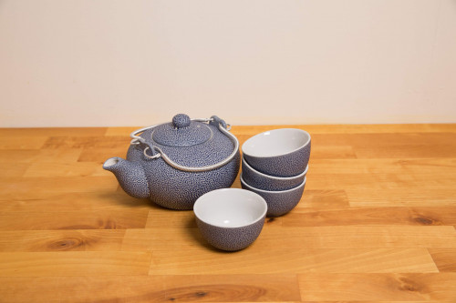 Chinese Blue Ceramic Tea set with four traditional tea cups without handles