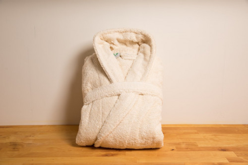 Eco Bath Unbleached Organic Cotton Towelling Robe  Large/ Extra Large from the Steenbergs UK online shop for organic dressing gowns, towels and slippers.