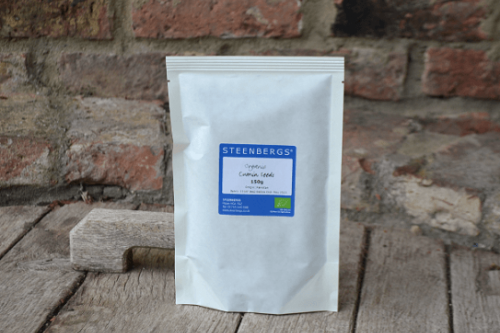 Steenbergs Organic Cumin Seed 150g in heat sealed paper bag - plastic free from the Steenbergs UK online spice shop.