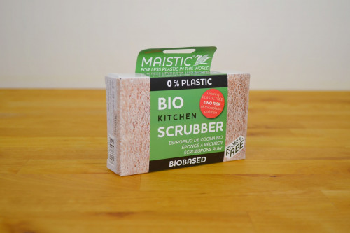 Plastic Free Kitchen Scourer made from loofah and wood-based cellulose sponge from the Steenbergs UK online shop for ecofriendly cleaning products.
