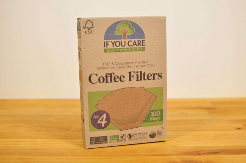 If You Care Unbleached Coffee Filters Size 4, unbleached and chlorine free from the Steenbergs UK online shop for If You Care products and ecofriendly coffee filters.