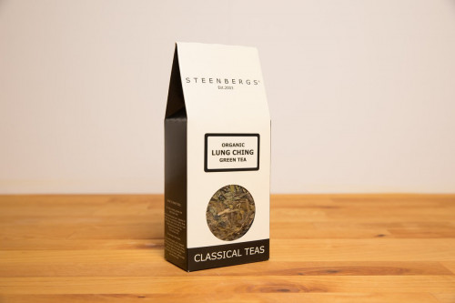 Steenbergs Organic Long Jing Green Tea, loose leaf, from the Steenbergs UK online shop for loose leaf teas, including a range of Chinese green teas, and infusers.