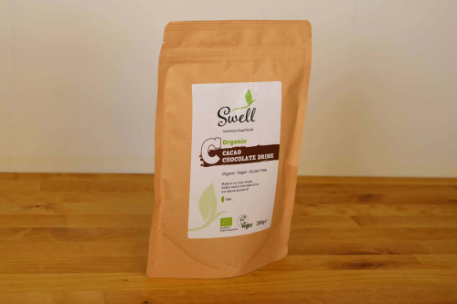 Swell Organic Cacao Chocolate Drink Mix  250g  available at Steenbergs UK online shop for orgnaic vegan drink mixes.