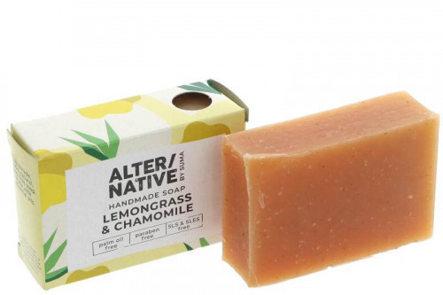 Handmade lemongrass and chamomile soap, palm oil free, paraben free, plastic free