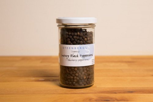 Steenbergs Organic Luxury TGSEB Black Peppercorns in Glass Jar from the Steenbergs UK online shop for organic herbs and spices.