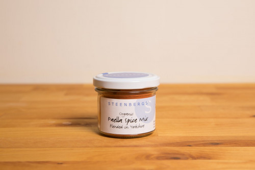 Steenbergs Organic Paella Spice Mix in Glass Jar from the Steenbergs UK online shop for organic herbs and spices.