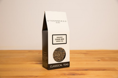 Steenbergs Organic Chun Mee Tea, loose leaf Chinese Green Tea, from the Steenbergs UK online loose leaf tea shop.