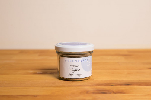 Steenbergs Organic Thyme, Dried, in Glass Jar from the Steenbergs UK online shop for organic herbs and spices, loose leaf herbal teas and baking extracts.