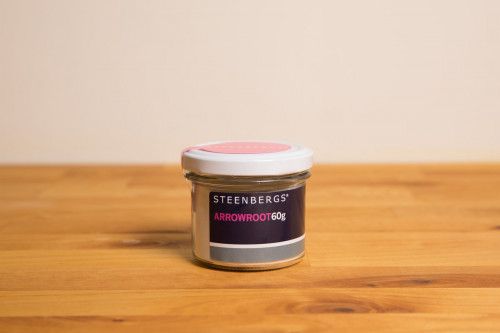 Steenbergs Arrowroot Powder in Glass Jar from the Steenbergs UK online shop for baking and cooking ingredients.