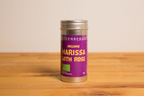 Steenbergs Organic Harissa with Rose Spice Mix in Premium tins from Steenbergs UK online shop for organic spice blends and arabic spice mixes.