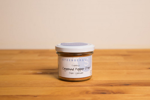 Steenbergs Organic Hot Cayenne Pepper Jar 55g in Glass Jar from the Steenbergs UK online shop for organic spices.
