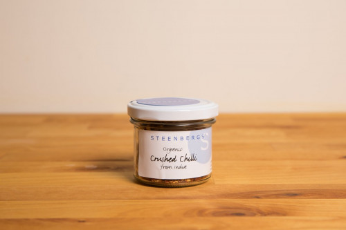 Steenbergs Organic Crushed Chilli Flakes in Glass Jar from the Steenbergs UK online shop for organic herbs and spices.