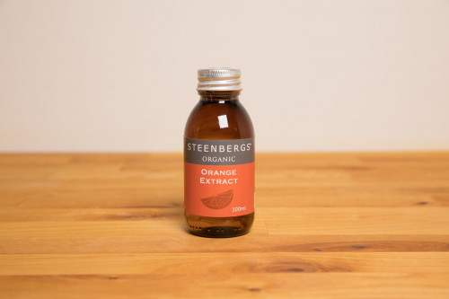 Steenbergs Organic Orange Extract, alcohol free, from the Steenbergs UK online shop for organic baking extracts, flavourings and ingredients.