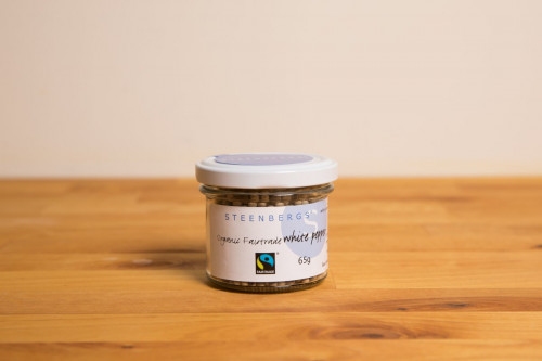 Steenbergs Organic Fairtrade White Peppercorns in Glass Jar from the Steenbergs UK online shop for organic and Fairtrade spices and ingredients.