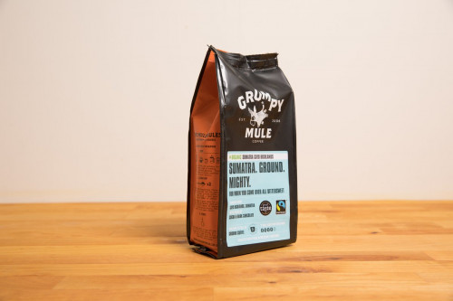 Grumpy Mule Organic Fairtrade Sumatra Coffee 227g Filter Ground Coffee from the Steenbergs UK online shop for organic Fairtade tea and coffee