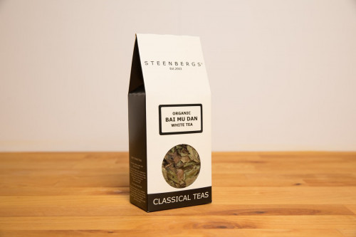 Steenbergs Organic White Tea - Bai Mu Dan - loose leaf in a box from the Steenbergs UK online tea shop for loose leaf tea and infusers.