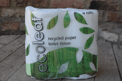 Old style Ecoleaf Recycled Toilet Tissue Paper - 4 pack - from the Steenbergs UK online shop for ethical and ecofriendly household cleaning products.