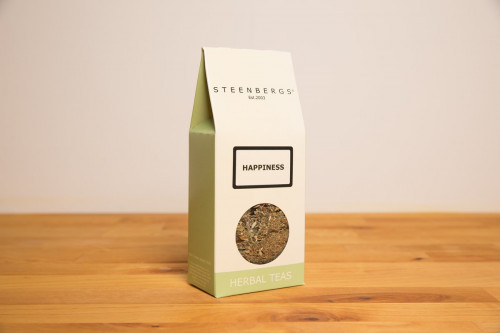 Steenbergs Loose Leaf Happiness Tea from the Steenbergs UK online shop for loose leaf herbal teas and infusions. Created, blended and packed in North Yorkshire, UK.