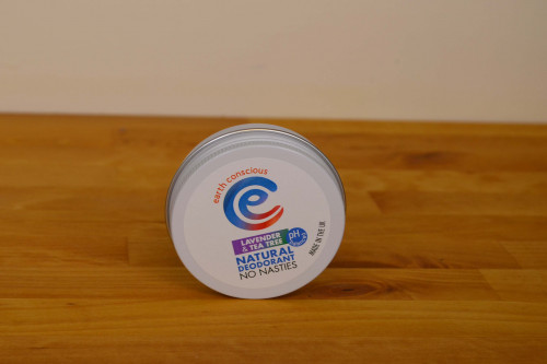 Earth Conscious Vegan Natural Plastic Free Deodorant Lavender and Tea Tree in a tin