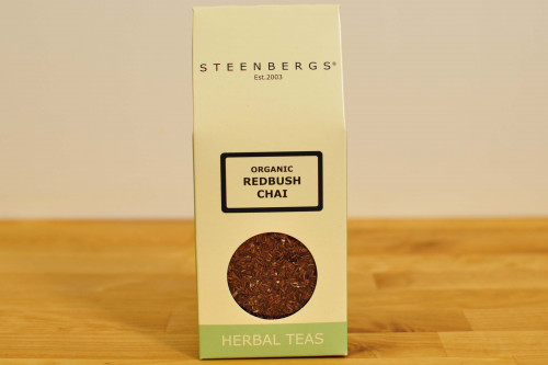 Steenbergs Organic Redbush Chai Herbal Tea, Loose Leaf, Caffeine Free, from the Steenbergs UK online shop for organic herbal teas, loose leaf teas.