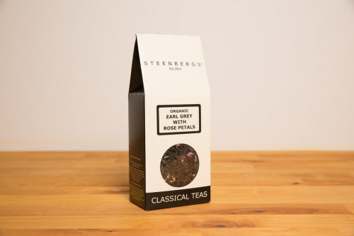 Steenbergs organic earl grey tea with rose, loose leaf, from the Steenbergs UK online shop for organic loose leaf teas and tea infusers.