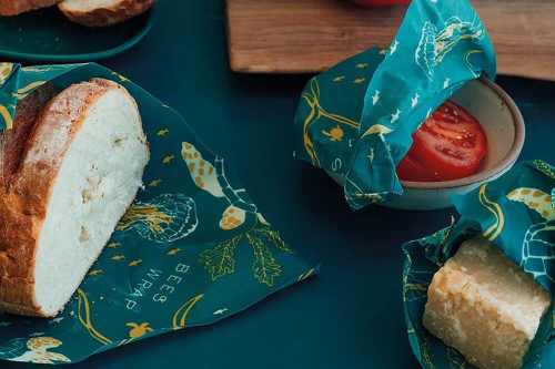3 sizes of plastic free reusable food wrap which also donates to the ocean conservancy and water stewardship.