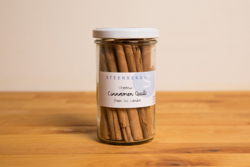 Steenbergs Organic Cinnamon Sticks or Cinnamon Quills available in Glass Jar from the online Steenbergs shop.