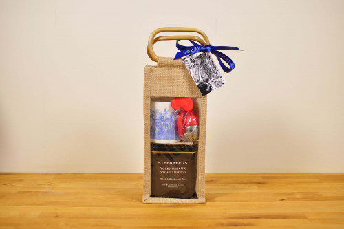 Rose and Bergamot Loose Leaf Tea with  Mug and Heart Infuser in Steenbergs Jute Gift bag from the Steenbergs UK online shop for loose leaf teas and tea gifts.