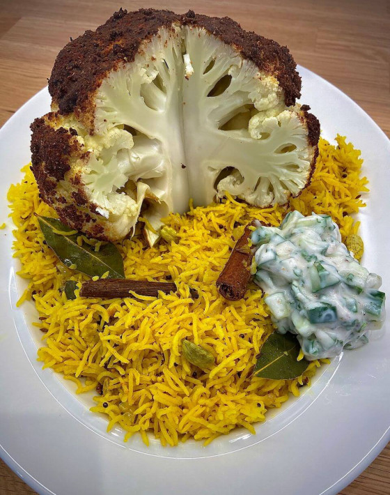 Garam Masala Spiced Whole Roasted Cauliflower with Pilau Rice and Coconut Raita