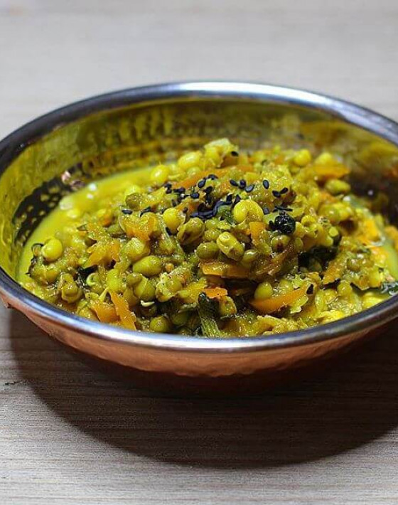 FRAGRANT SPROUTED MUNG TARKA DHAL RECIPE