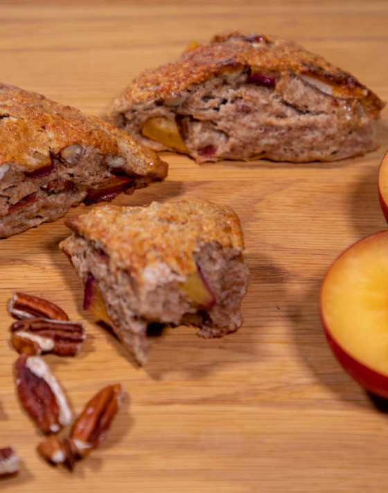 Savoury Scones with plums and bacon