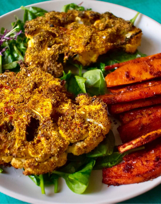 Niki's Jerked Cauliflower with Sweet Potato Fries Recipe
