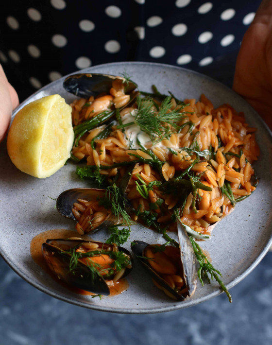 Mussel and Samphire Orzo Paella Recipe