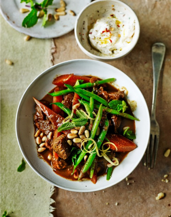 Moroccan Beef Stew with Spiced Tahini Yoghurt