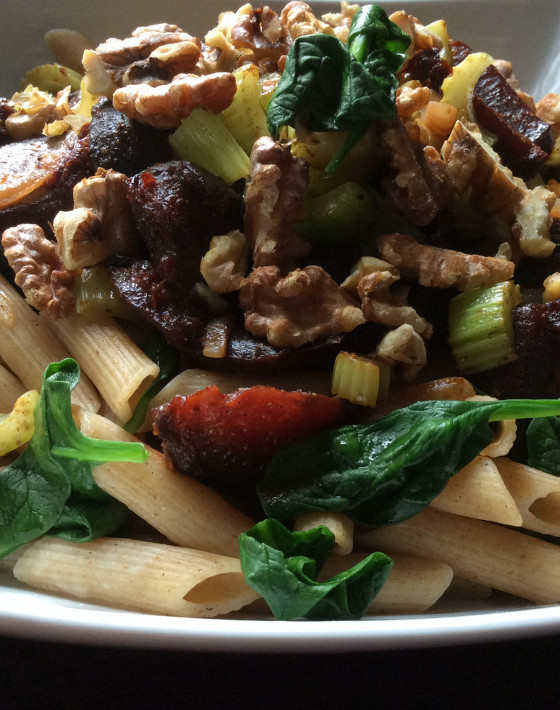 Pan fried Beetroot pasta with Baharat orange and walnuts