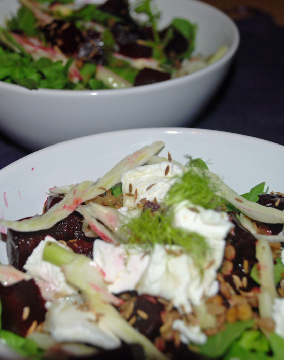 Beetroot, Fennel and Goats Cheese Salad with Cumin Dressing